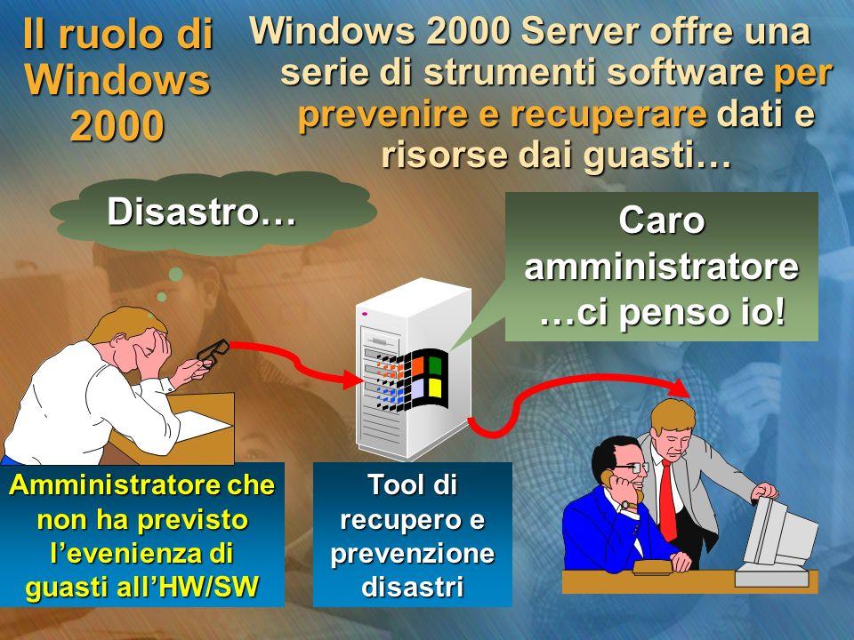 Il ruolo di Windows 2000 Con Windows 2000 Server possiamo utilizzare… Domain controller alla pari Gestione dellUPS Gestione fault tolerance dei dischi Pianificazione di backup Tool di recupero dei disastri allavvio