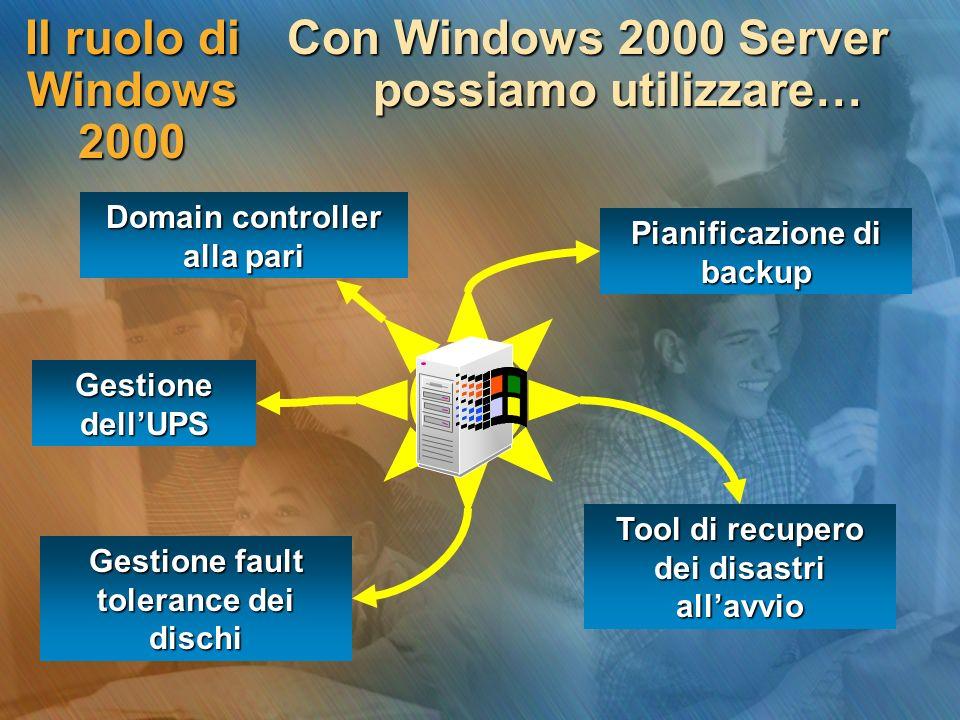 Distruzione del server In una rete Windows 2000, per prevenire la distruzione di un domain controller… In una rete Windows 2000, per prevenire la distruzione di un domain controller… dobbiamo prevedere linstallazione di un altro domain controller