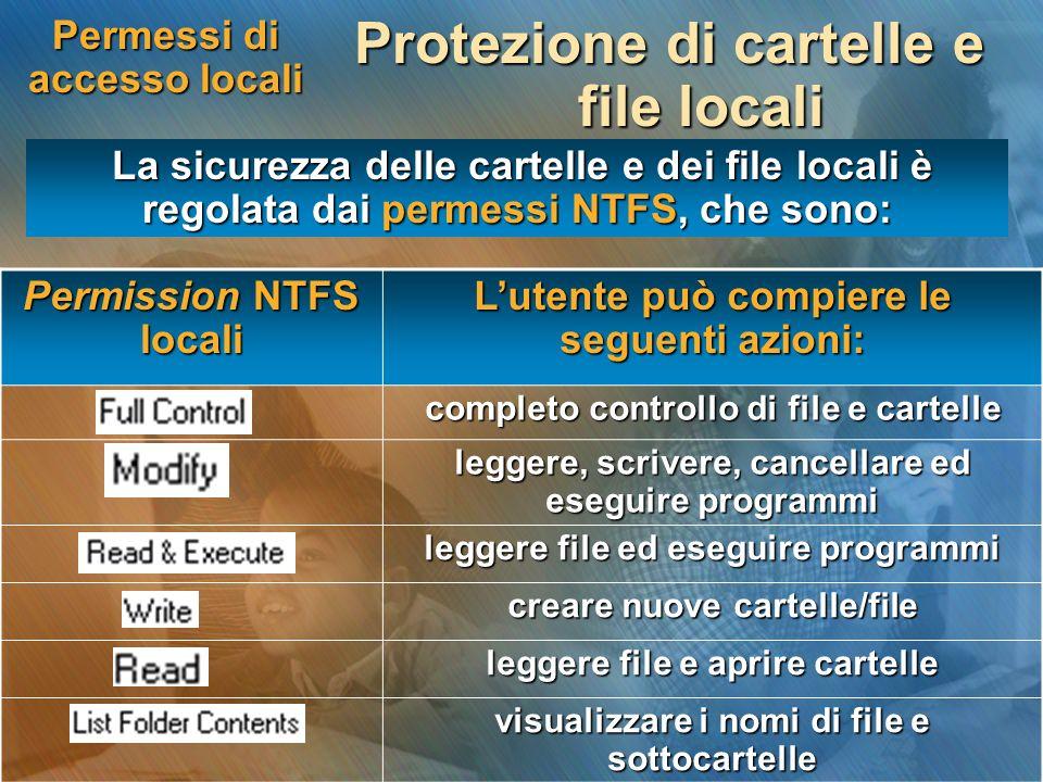 Permessi di accesso locali Protezione di cartelle e file locali La sicurezza delle cartelle e dei file locali è regolata dai permessi NTFS, che sono: