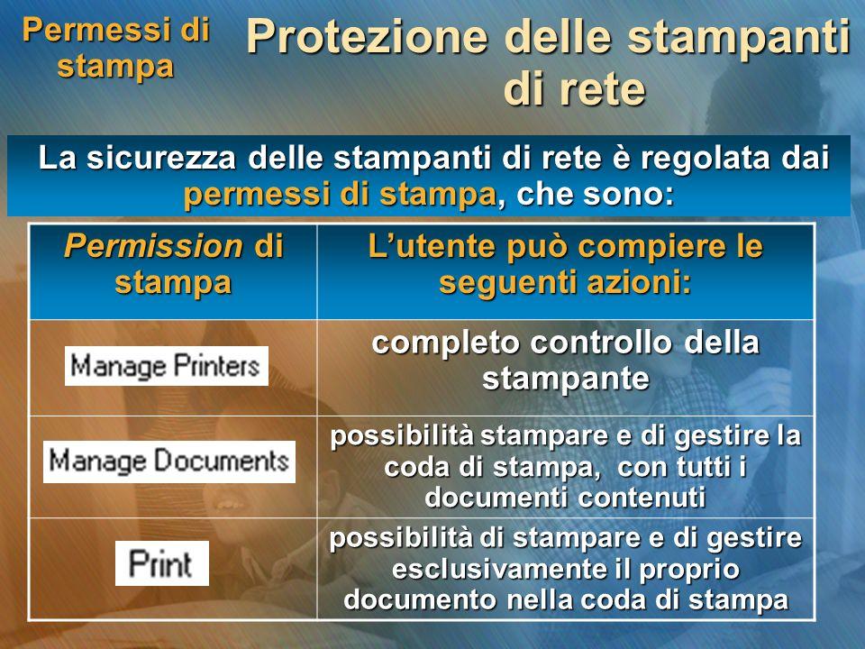 Permessi di stampa Protezione delle stampanti di rete La sicurezza delle stampanti di rete è regolata dai permessi di stampa, che sono: La sicurezza d
