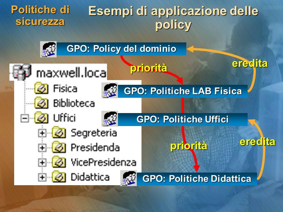 Politiche di sicurezza Esempi di applicazione delle policy GPO: Policy del dominio GPO: Politiche LAB Fisica GPO: Politiche Didattica GPO: Politiche U