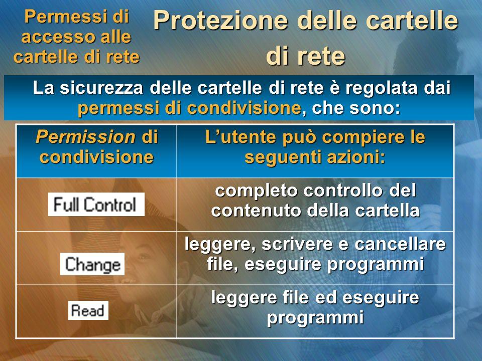 Permessi di accesso alle cartelle di rete Protezione delle cartelle di rete La sicurezza delle cartelle di rete è regolata dai permessi di condivision