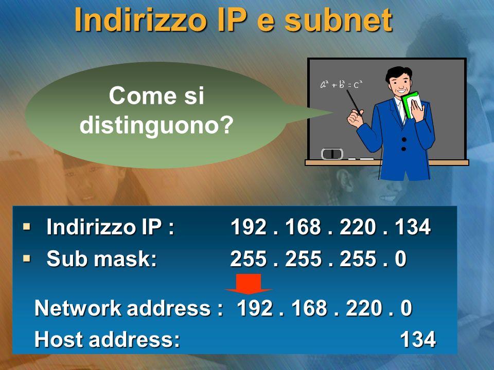 Indirizzo IP e subnet Come si distinguono? Indirizzo IP : 192. 168. 220. 134 Indirizzo IP : 192. 168. 220. 134 Sub mask: 255. 255. 255. 0 Sub mask: 25