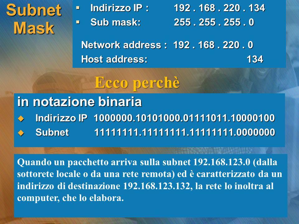 in notazione binaria Indirizzo IP 1000000.10101000.01111011.10000100 Indirizzo IP 1000000.10101000.01111011.10000100 Subnet 11111111.11111111.11111111