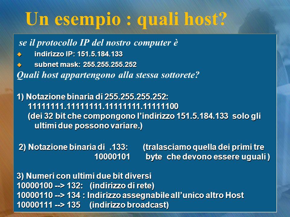 Un esempio : quali host? se il protocollo IP del nostro computer è indirizzo IP: 151.5.184.133 indirizzo IP: 151.5.184.133 subnet mask: 255.255.255.25