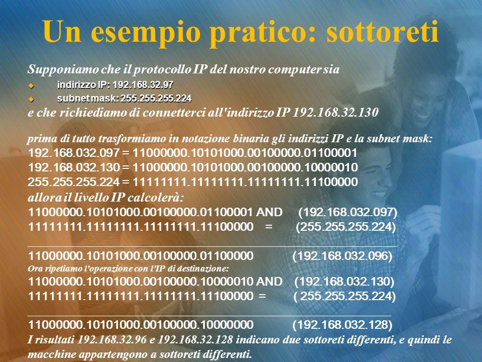 Un esempio pratico: sottoreti Supponiamo che il protocollo IP del nostro computer sia indirizzo IP: 192.168.32.97 indirizzo IP: 192.168.32.97 subnet m