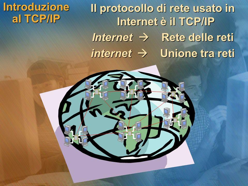 Il protocollo di rete usato in Internet è il TCP/IP Il protocollo di rete usato in Internet è il TCP/IP Internet Rete delle reti Internet Rete delle r