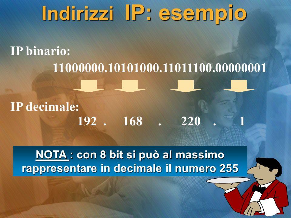 Indirizzi IP: esempio 192. 168. 220. 1 IP decimale: 11000000.10101000.11011100.00000001 IP binario: NOTA : con 8 bit si può al massimo rappresentare i