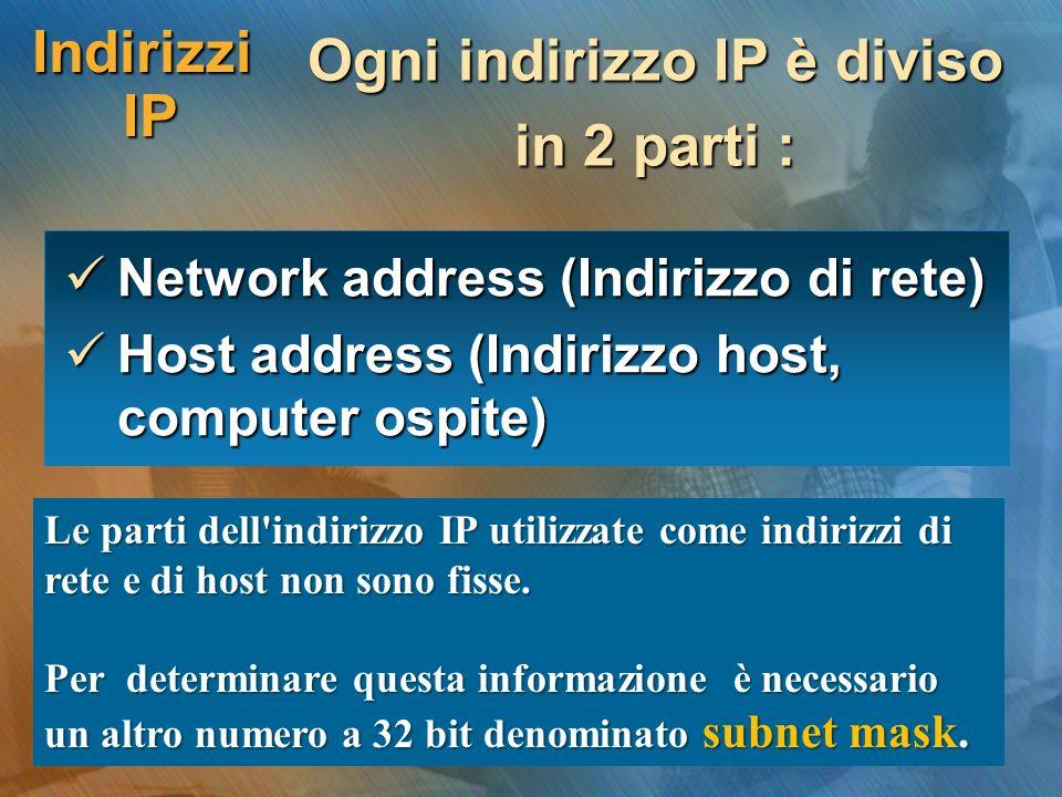 Indirizzi IP Ogni indirizzo IP è diviso in 2 parti : Network address (Indirizzo di rete) Network address (Indirizzo di rete) Host address (Indirizzo h