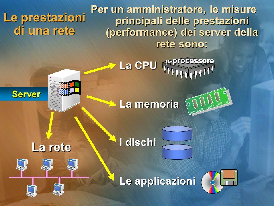 La CPU La memoria I dischi Le applicazioni Le prestazioni di una rete Per un amministratore, le misure principali delle prestazioni (performance) dei server della rete sono: Server La rete -processore -processore