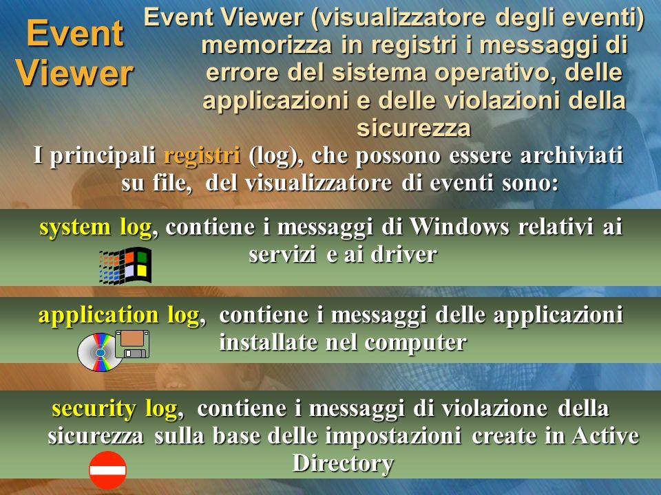 Event Viewer Event Viewer (visualizzatore degli eventi) memorizza in registri i messaggi di errore del sistema operativo, delle applicazioni e delle violazioni della sicurezza I principali registri (log), che possono essere archiviati su file, del visualizzatore di eventi sono: system log, contiene i messaggi di Windows relativi ai servizi e ai driver application log, contiene i messaggi delle applicazioni installate nel computer security log, contiene i messaggi di violazione della sicurezza sulla base delle impostazioni create in Active Directory