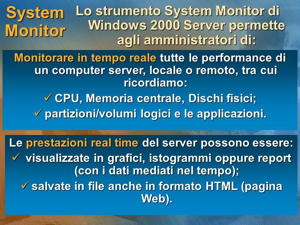 System Monitor Lo strumento System Monitor di Windows 2000 Server permette agli amministratori di: Monitorare in tempo reale tutte le performance di un computer server, locale o remoto, tra cui ricordiamo: CPU, Memoria centrale, Dischi fisici; CPU, Memoria centrale, Dischi fisici; partizioni/volumi logici e le applicazioni.
