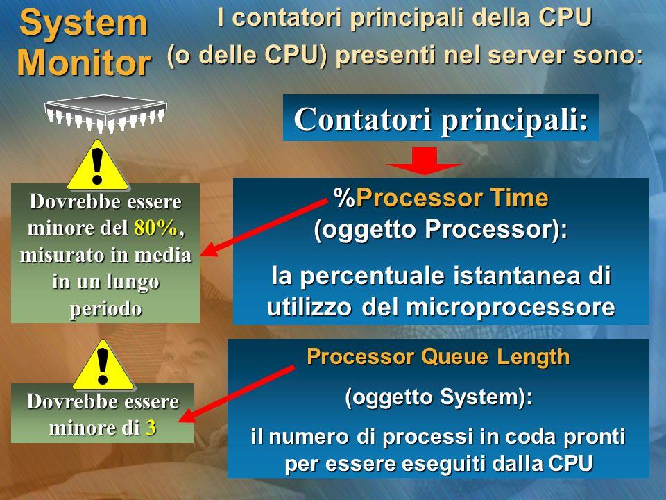 System Monitor I contatori principali della CPU (o delle CPU) presenti nel server sono: Contatori principali: %Processor Time (oggetto Processor): la percentuale istantanea di utilizzo del microprocessore Processor Queue Length (oggetto System): il numero di processi in coda pronti per essere eseguiti dalla CPU Dovrebbe essere minore del 80%, misurato in media in un lungo periodo Dovrebbe essere minore di 3