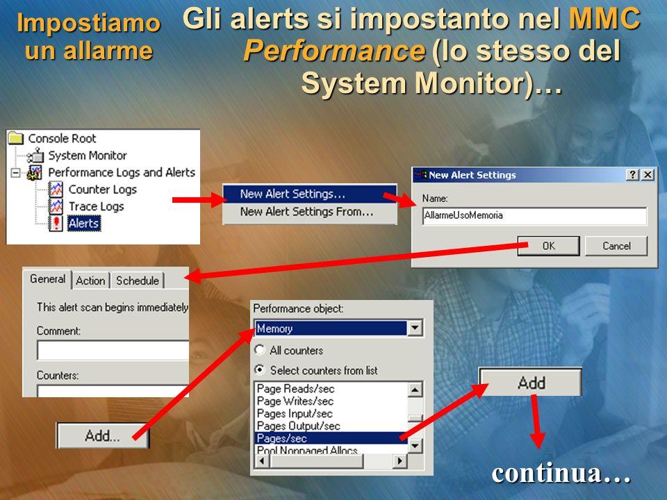 Impostiamo un allarme Gli alerts si impostanto nel MMC Performance (lo stesso del System Monitor)… continua…