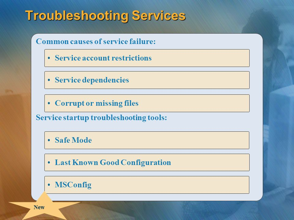 Troubleshooting Services Common causes of service failure: Service startup troubleshooting tools: Service dependencies Corrupt or missing files Service account restrictions Safe Mode Last Known Good Configuration MSConfig New