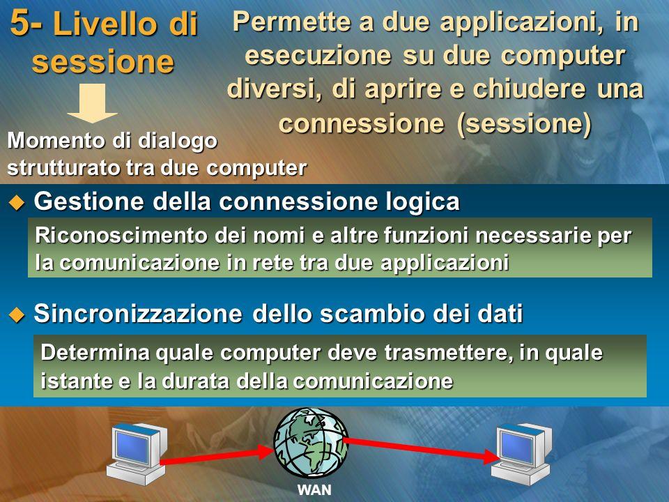 5- Livello di sessione Permette a due applicazioni, in esecuzione su due computer diversi, di aprire e chiudere una connessione (sessione) Gestione de