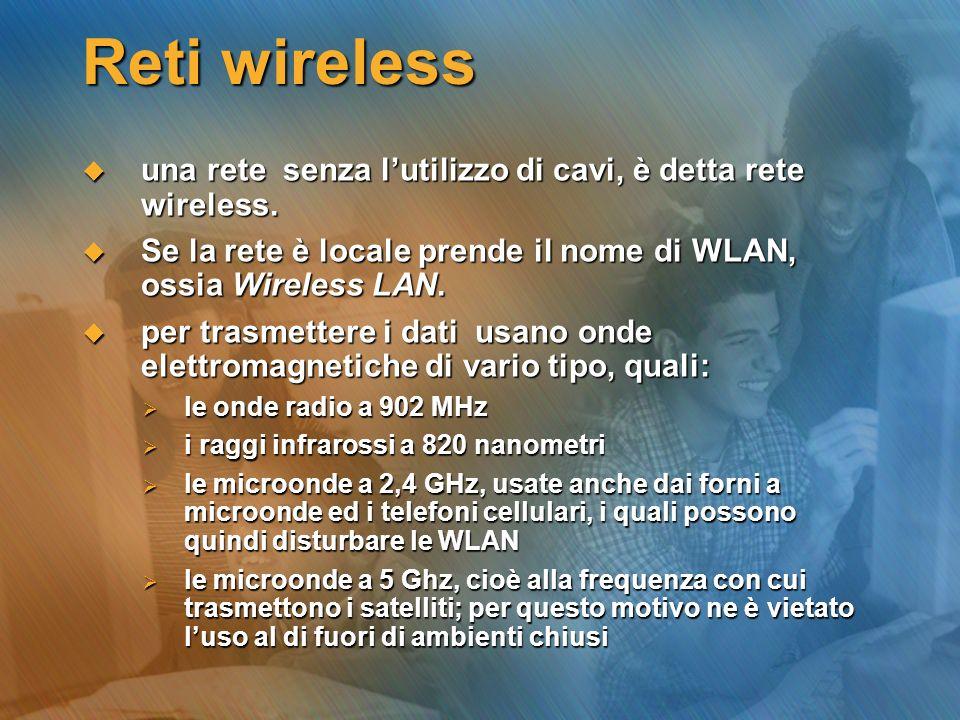 Reti wireless una rete senza lutilizzo di cavi, è detta rete wireless. una rete senza lutilizzo di cavi, è detta rete wireless. Se la rete è locale pr