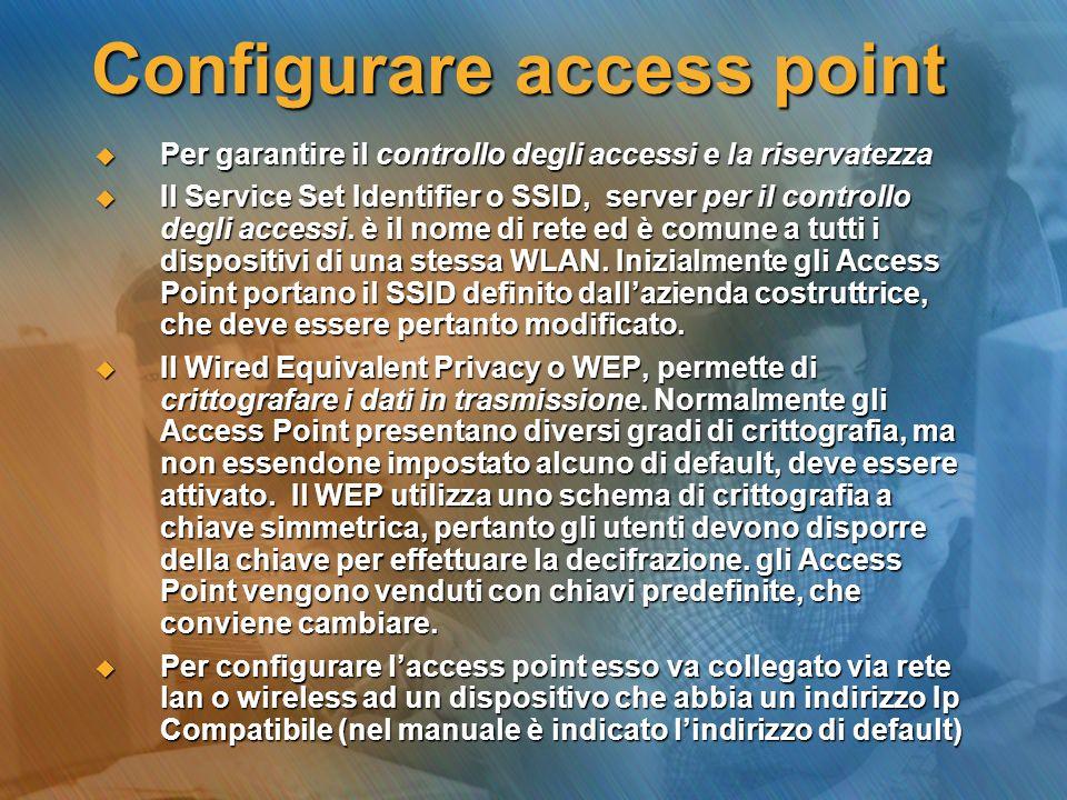 Configurare access point Per garantire il controllo degli accessi e la riservatezza Per garantire il controllo degli accessi e la riservatezza Il Serv