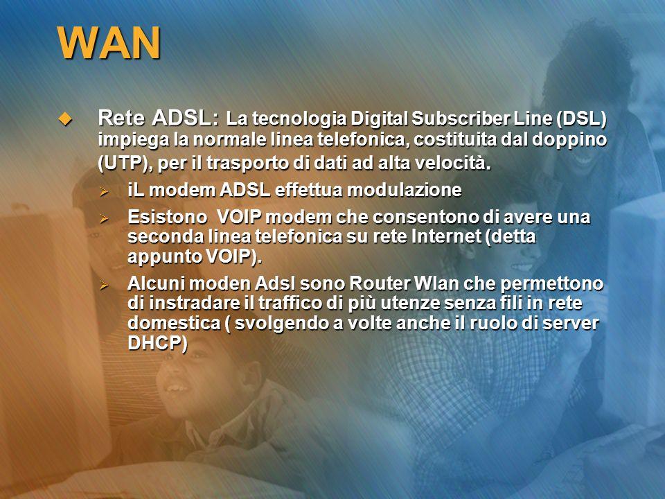 WAN Rete ADSL: La tecnologia Digital Subscriber Line (DSL) impiega la normale linea telefonica, costituita dal doppino (UTP), per il trasporto di dati