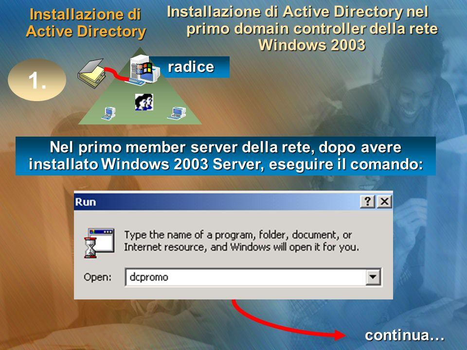 Installazione di Active Directory Installazione di Active Directory nel primo domain controller della rete Windows 2003 radice radice 1. Nel primo mem