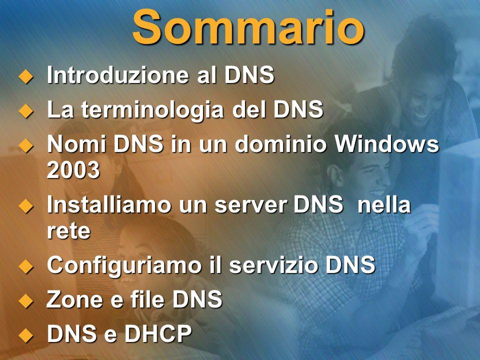Introduzione al DNS Il DNS (Domain Name System) Server DNS...essendo un servizio, il DNS è svolto da un server DNS Computer client della LAN …è il servizio di una rete, integrato nel protocollo TCP/IP, che risolve i nomi di dominio in indirizzi IP.