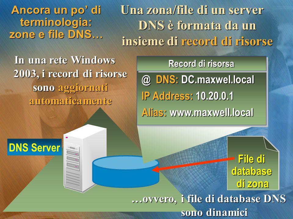 Ancora un po di terminologia: zone e file DNS… Una zona/file di un server DNS è formata da un insieme di record di risorse In una rete Windows 2003, i