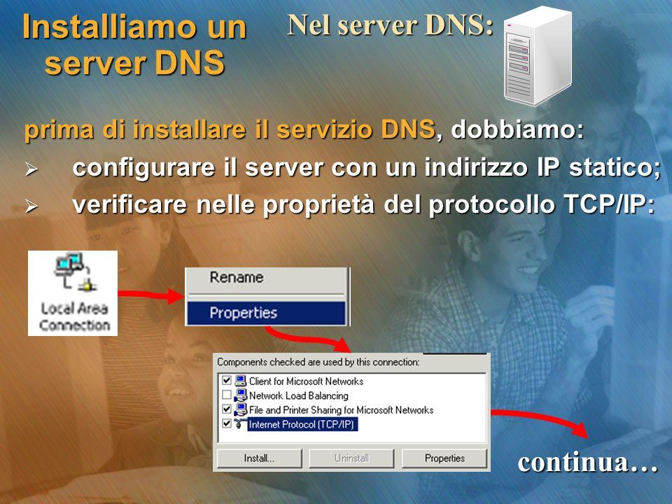 Installiamo un server DNS prima di installare il servizio DNS, dobbiamo: configurare il server con un indirizzo IP statico; configurare il server con