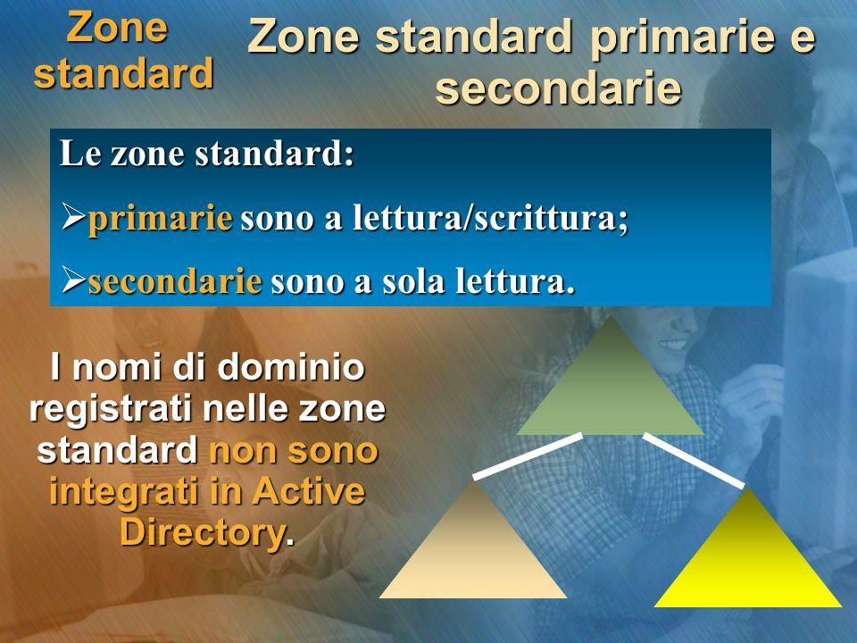 Zone standard Zone standard primarie e secondarie Le zone standard: primarie sono a lettura/scrittura; primarie sono a lettura/scrittura; secondarie s
