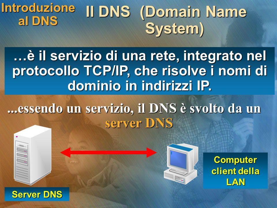 Introduzione al DNS Il DNS (Domain Name System) Server DNS...essendo un servizio, il DNS è svolto da un server DNS Computer client della LAN …è il ser