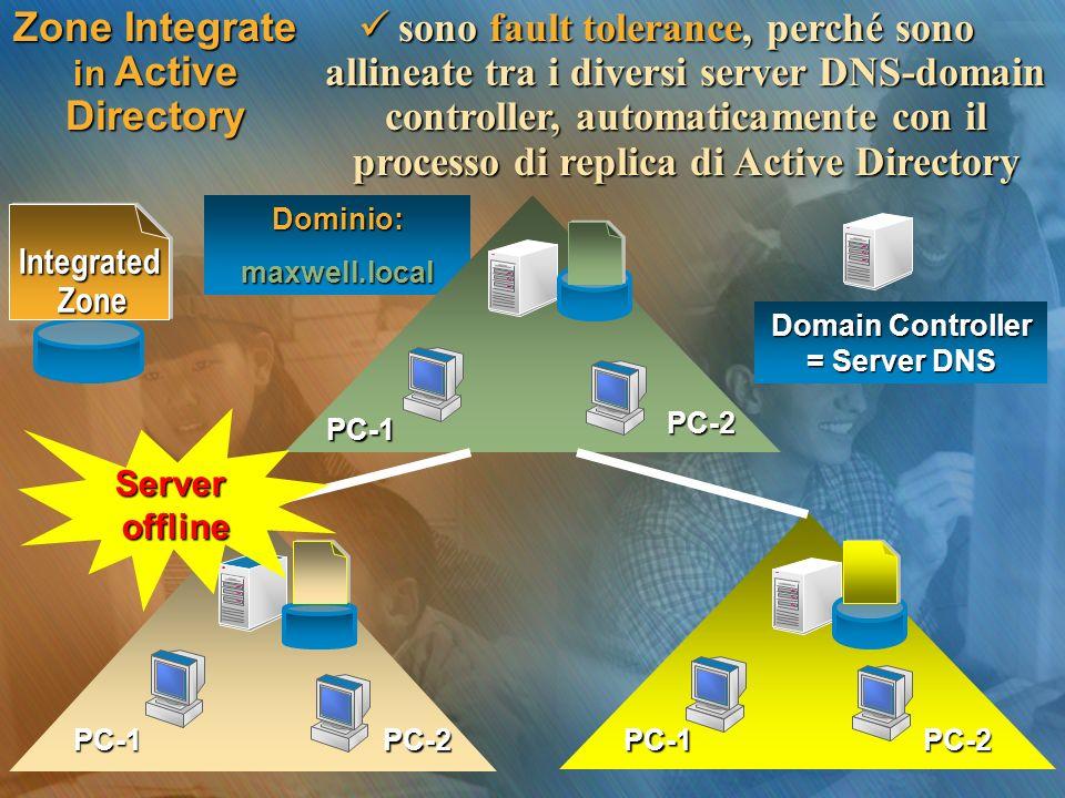 Zone Integrate in Active Directory sono fault tolerance, perché sono allineate tra i diversi server DNS-domain controller, automaticamente con il proc