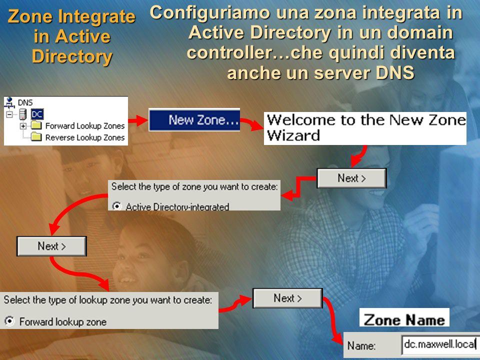 Zone Integrate in Active Directory Configuriamo una zona integrata in Active Directory in un domain controller…che quindi diventa anche un server DNS