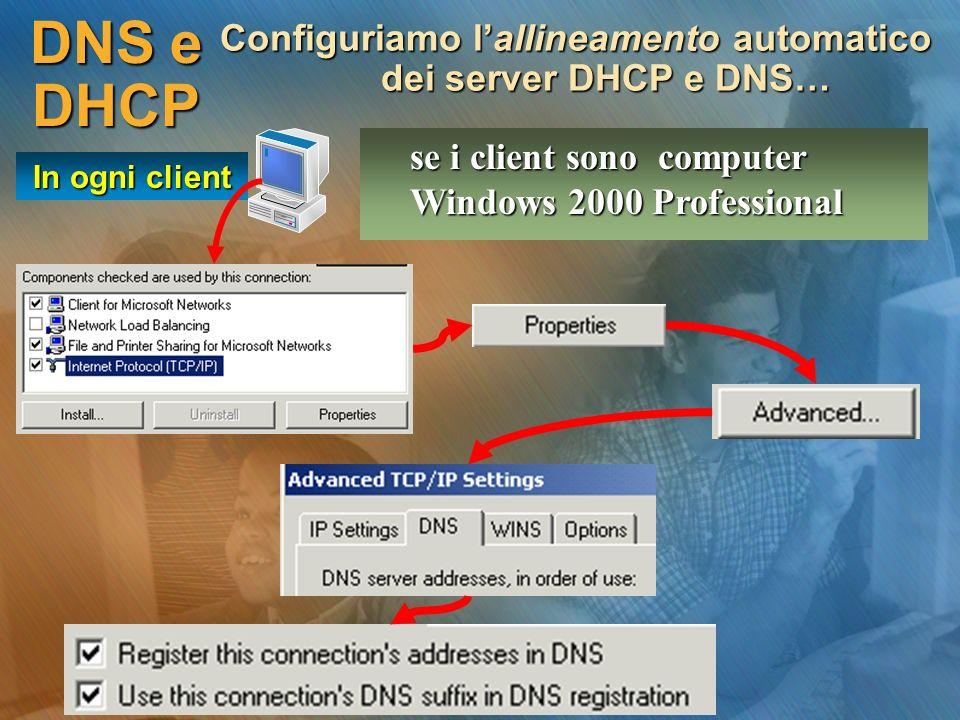 DNS e DHCP Configuriamo lallineamento automatico dei server DHCP e DNS… se i client sono computer Windows 2000 Professional In ogni client