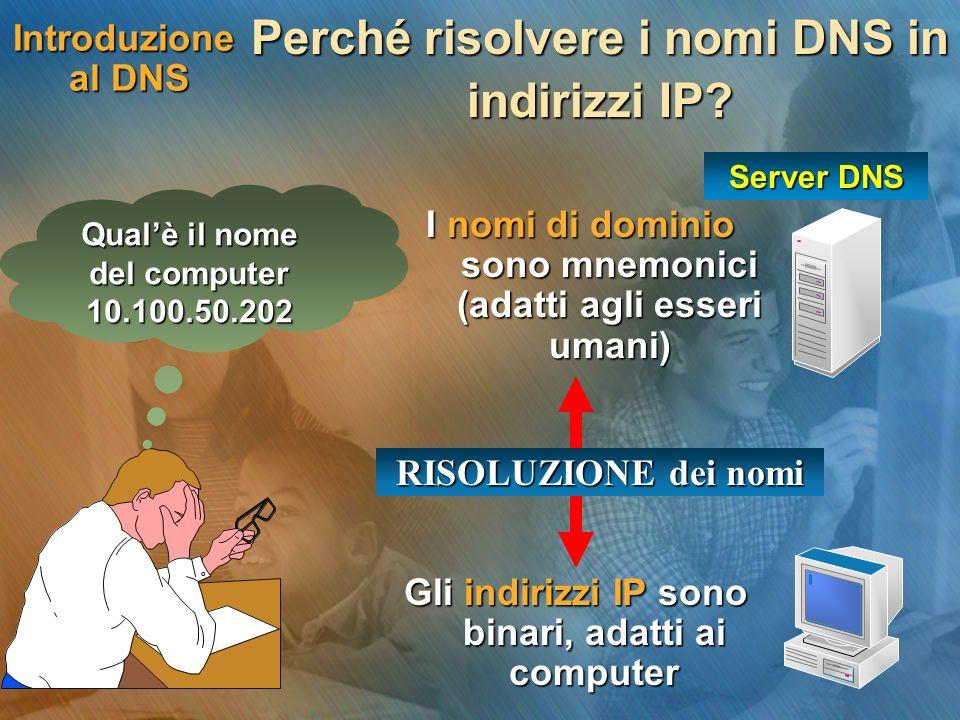 Introduzione al DNS I nomi di dominio sono mnemonici (adatti agli esseri umani) Perché risolvere i nomi DNS in indirizzi IP? Server DNS Gli indirizzi