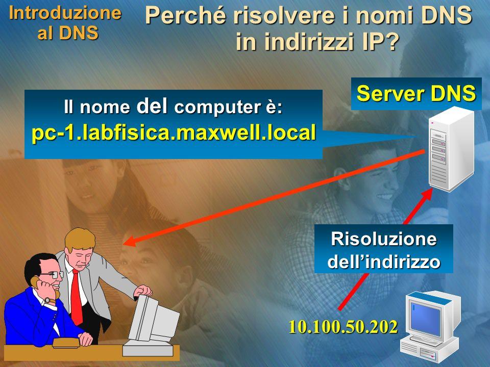 Server DNS Introduzione al DNS Perché risolvere i nomi DNS in indirizzi IP? 10.100.50.202 Risoluzione dellindirizzo Il nome del computer è: pc-1.labfi
