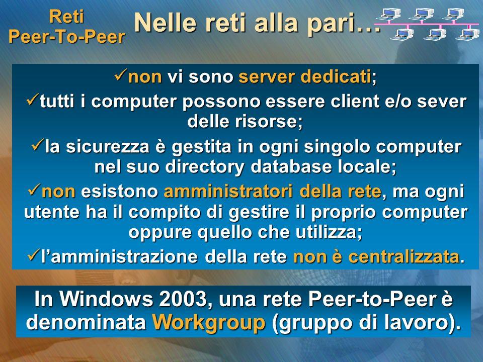 Reti Peer-To-Peer Nelle reti alla pari… non vi sono server dedicati; non vi sono server dedicati; tutti i computer possono essere client e/o sever del