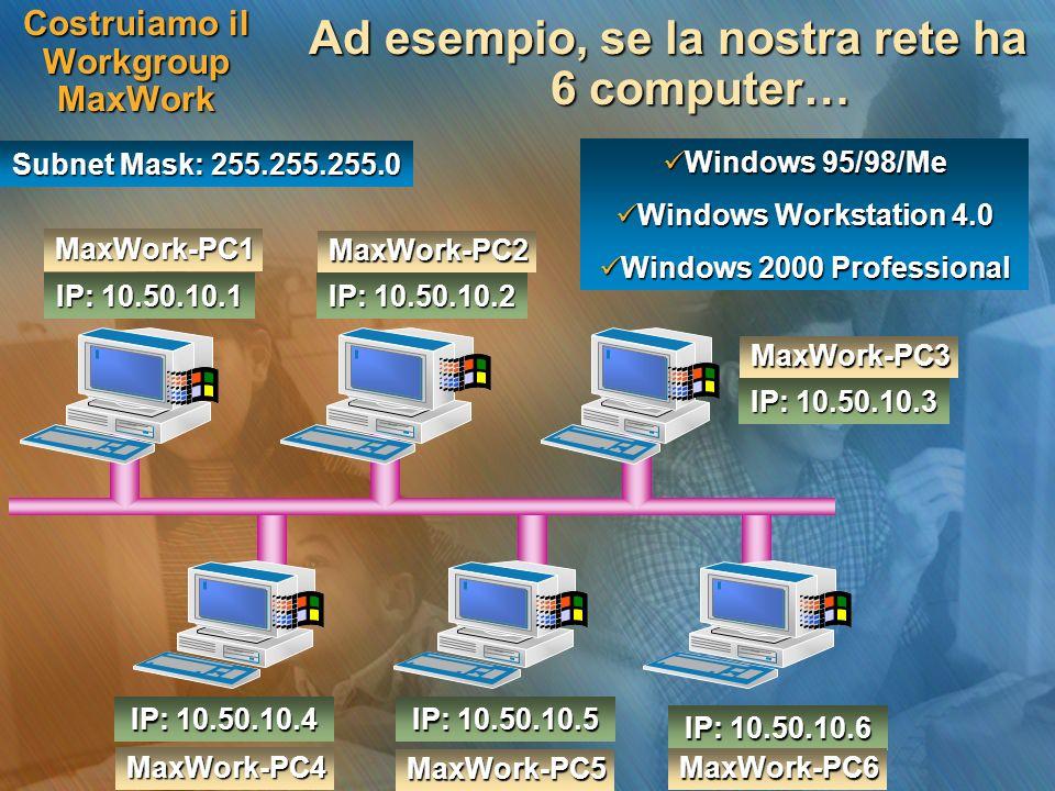 Costruiamo il Workgroup MaxWork Ad esempio, se la nostra rete ha 6 computer… IP: 10.50.10.1 Subnet Mask: 255.255.255.0 IP: 10.50.10.2 IP: 10.50.10.3 I
