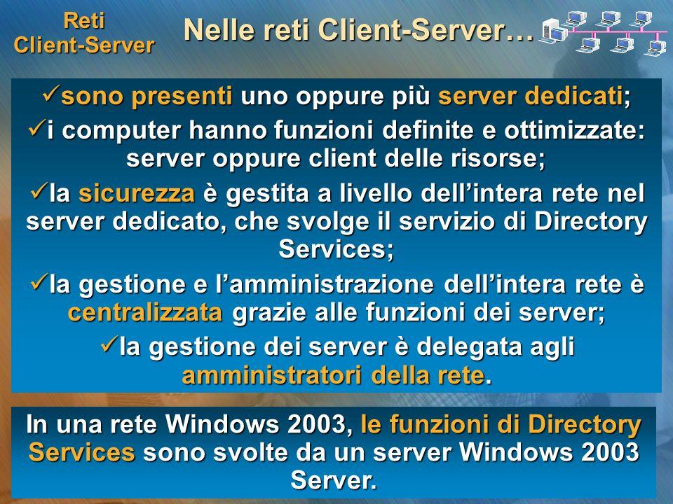 Reti Client-Server Nelle reti Client-Server… sono presenti uno oppure più server dedicati; sono presenti uno oppure più server dedicati; i computer ha