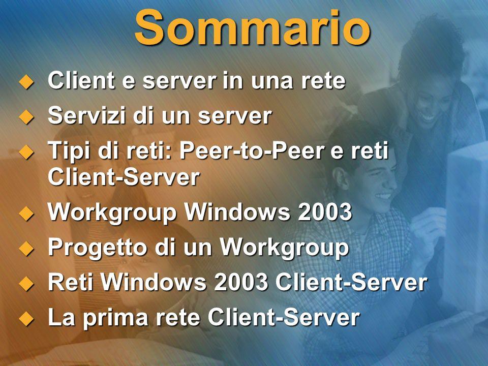 Sommario Client e server in una rete Client e server in una rete Servizi di un server Servizi di un server Tipi di reti: Peer-to-Peer e reti Client-Se