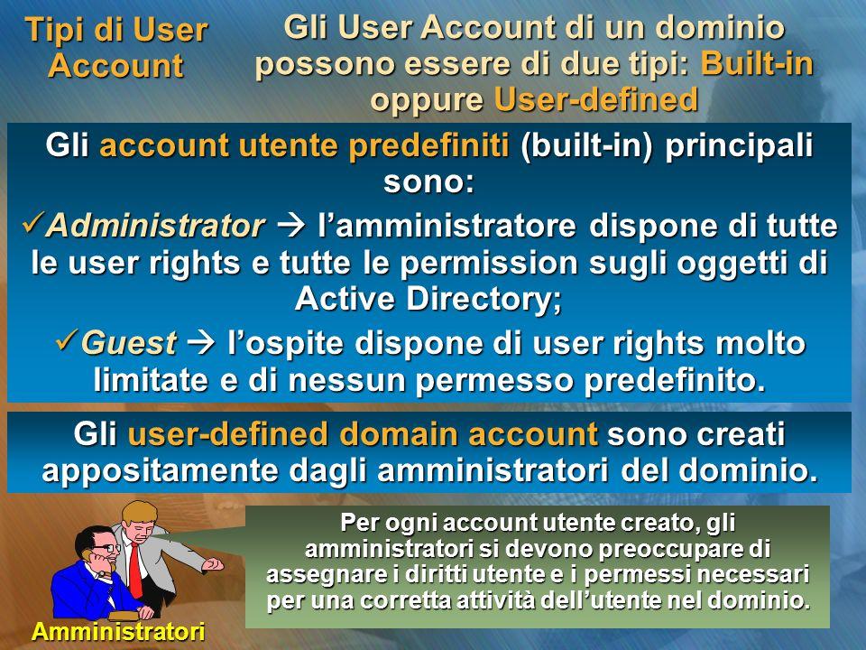 Tipi di User Account Gli User Account di un dominio possono essere di due tipi: Built-in oppure User-defined Gli account utente predefiniti (built-in)