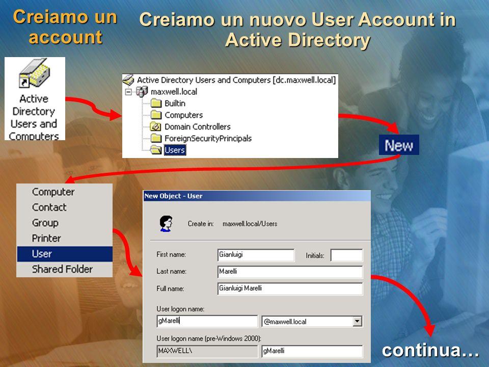 Creiamo un account Creiamo un nuovo User Account in Active Directory continua…