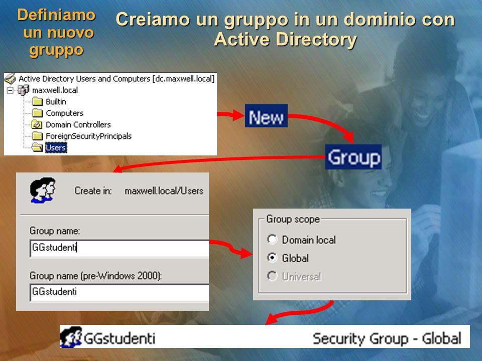 Definiamo un nuovo gruppo Creiamo un gruppo in un dominio con Active Directory