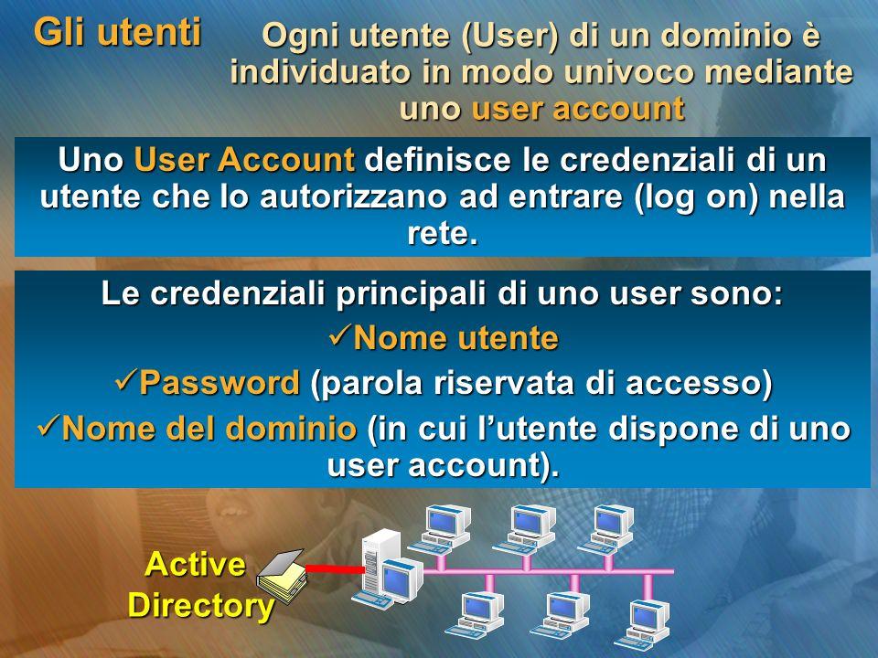 Gli utenti Uno User Account definisce le credenziali di un utente che lo autorizzano ad entrare (log on) nella rete. Le credenziali principali di uno