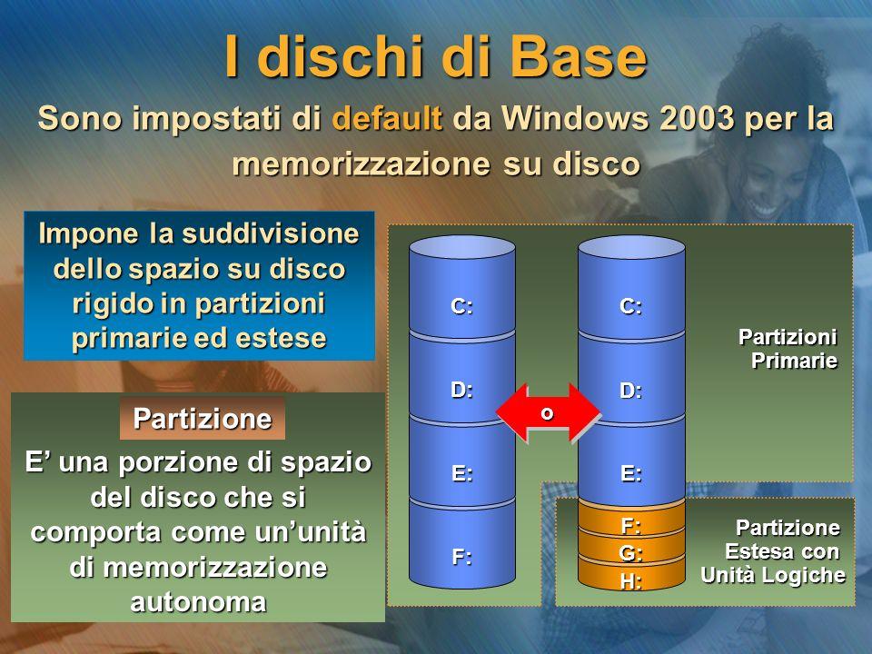Sono impostati di default da Windows 2003 per la memorizzazione su disco E una porzione di spazio del disco che si comporta come ununità di memorizzaz