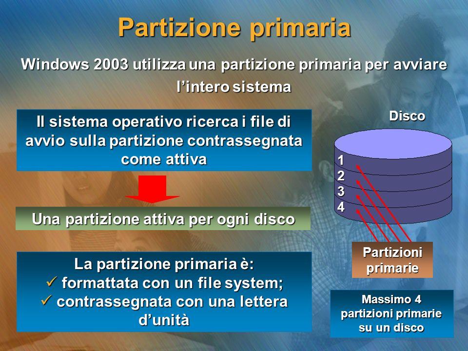 Windows 2003 utilizza una partizione primaria per avviare lintero sistema Una partizione attiva per ogni disco Partizioni primarie 1234 Disco Il siste