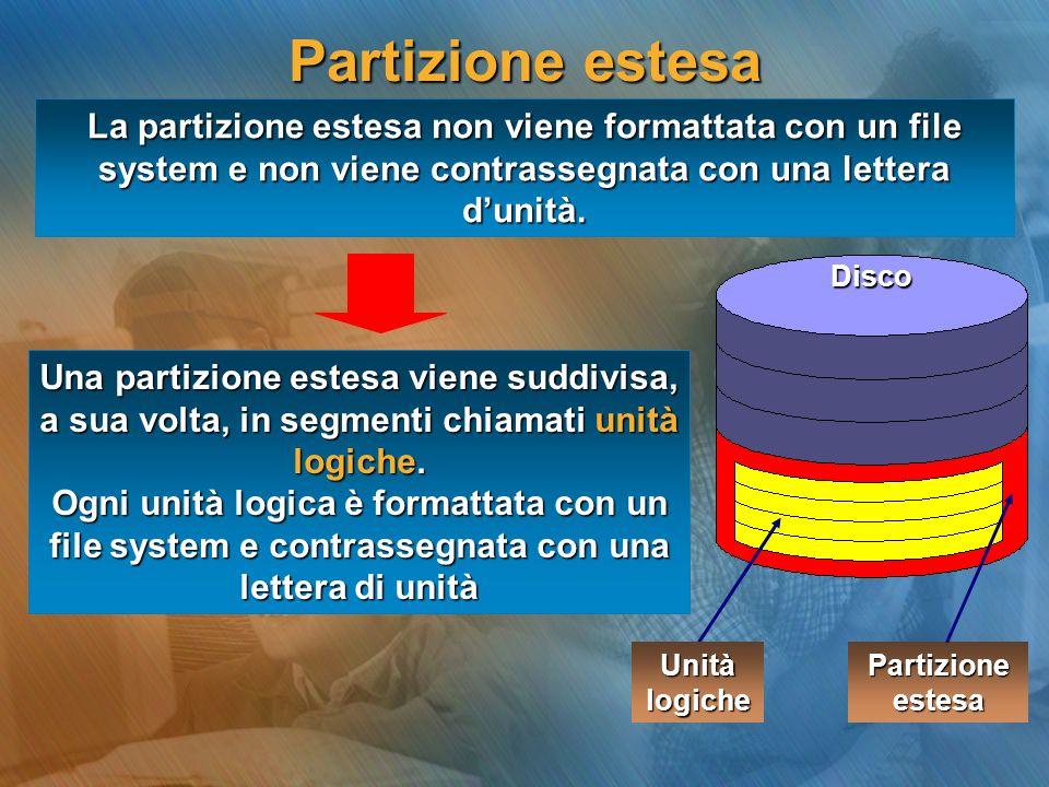 Partizione estesa Disco La partizione estesa non viene formattata con un file system e non viene contrassegnata con una lettera dunità. Unità logiche