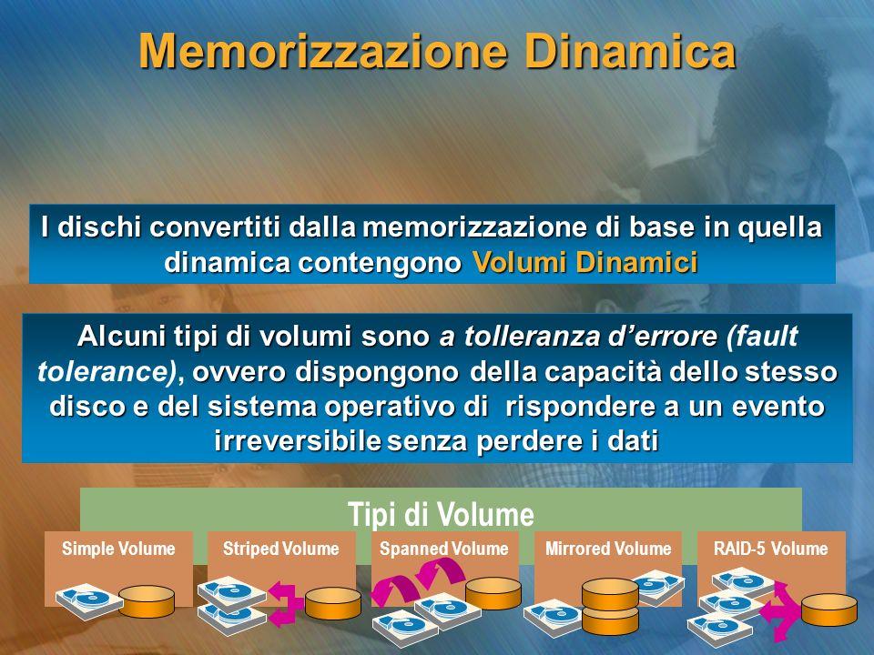 I dischi convertiti dalla memorizzazione di base in quella dinamica contengono Volumi Dinamici Tipi di Volume Striped VolumeRAID-5 VolumeMirrored Volu