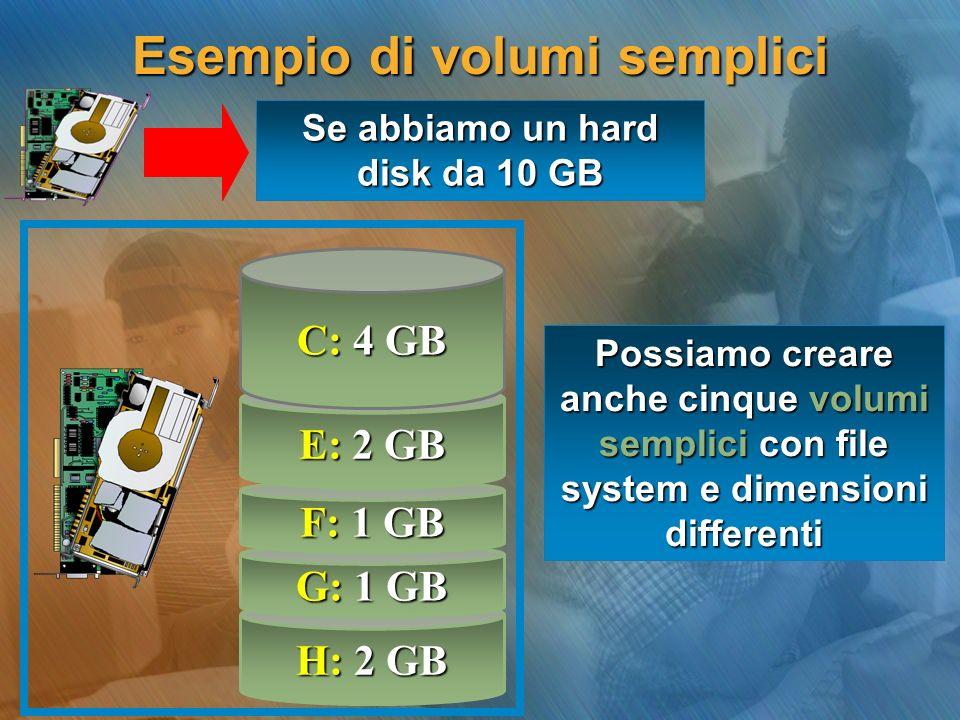 H: 2 GB G: 1 GB F: 1 GB Se abbiamo un hard disk da 10 GB Esempio di volumi semplici Possiamo creare anche cinque volumi semplici con file system e dim