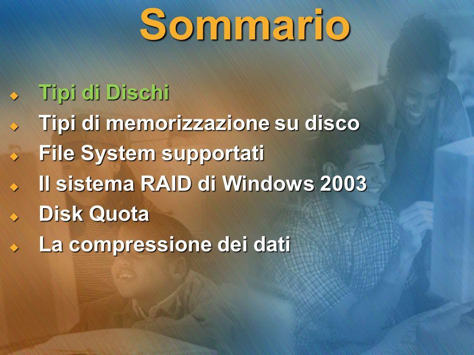 Sommario Tipi di Dischi Tipi di Dischi Tipi di memorizzazione su disco Tipi di memorizzazione su disco File System supportati File System supportati I