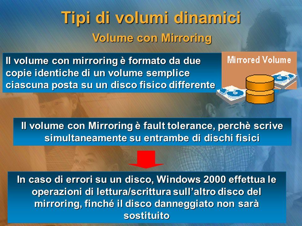 Volume con Mirroring Volume con Mirroring Il volume con mirroring è formato da due copie identiche di un volume semplice ciascuna posta su un disco fi