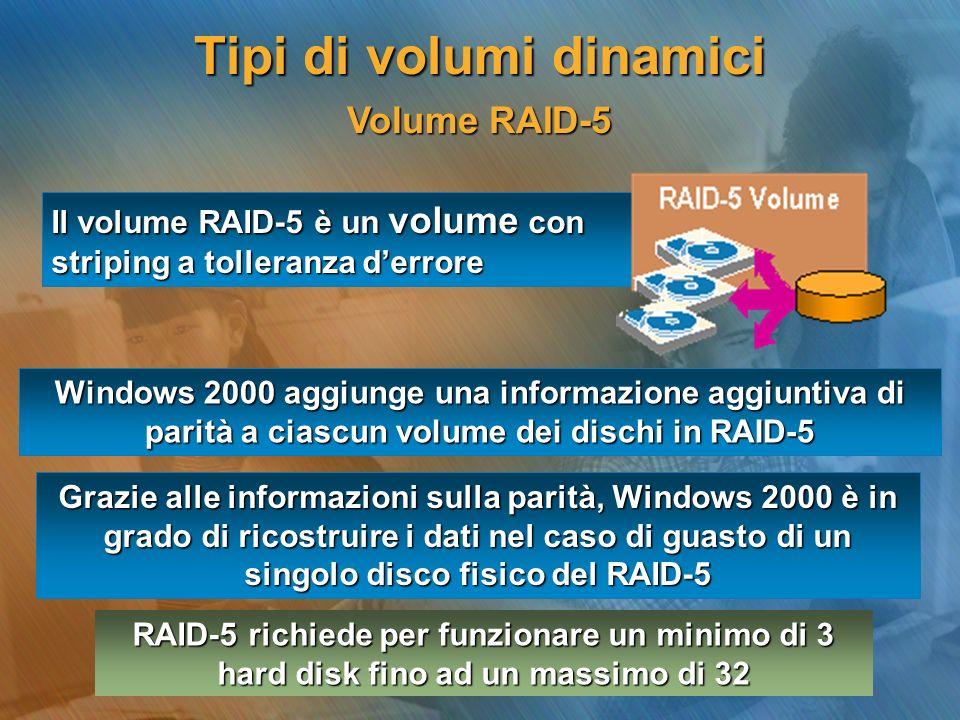 Volume RAID-5 Volume RAID-5 Il volume RAID-5 è un volume con striping a tolleranza derrore Windows 2000 aggiunge una informazione aggiuntiva di parità